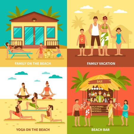family holiday: Beach holiday flat design concept with family vacation yoga exercise and bar on shore isolated vector illustration