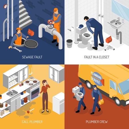 Het concept van het loodgieter isometrische ontwerp met vierkante samenstellingen van de plaatsbezoek van de karakters van de loodgieterswerkbemanning en de vectorillustratie van het reparatieproces Stock Illustratie