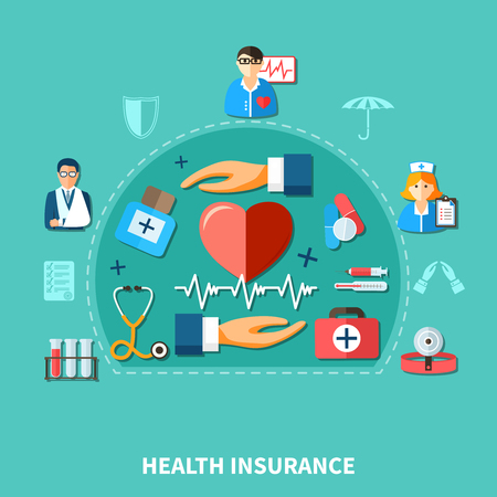 Medical insurance flat concept with doctor nurse heart tools and equipment isolated vector illustration