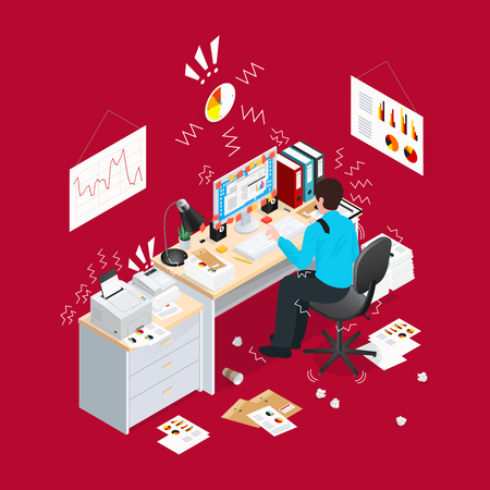 Read 3d deadline office isometric composition with stress situation and paper lying on the floor vector illustration