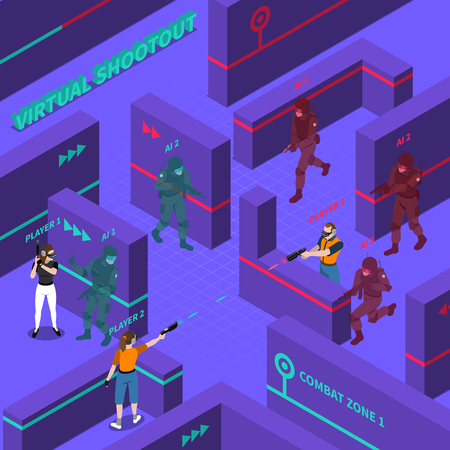 computer equipment: Virtual gun battles including players with electronic equipment computer soldiers barriers in combat zone isometric vector illustration Illustration