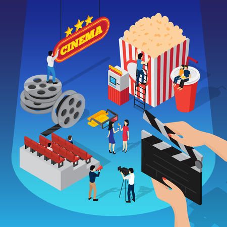 cinema screen: Cinema 3d isometric composition with human figures shooting movie sitting on beverage cup and hanging sign vector illustration