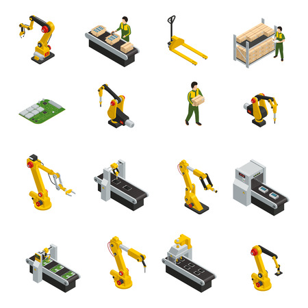 Electronics factory isometric elements with robotic machinery and conveyor of release product isolated decorative symbols vector illustration