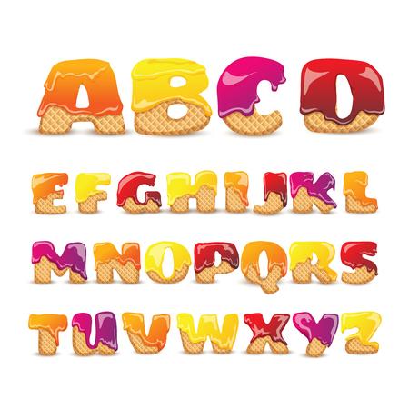 Recubierto waffles letras latinas dulce alfabeto con sabor a fruta funny colorido pictogramas colección cartel abstracto ilustración vectorial Foto de archivo - 75373485