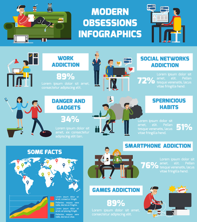 Modern obsessions infographics with various pernicious habits technologic and work addictions in flat style vector illustration