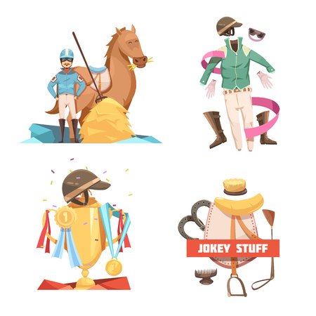 Horse riding retro cartoon 2x2 design compositions with jockey stuff and champion cup flat vector illustration