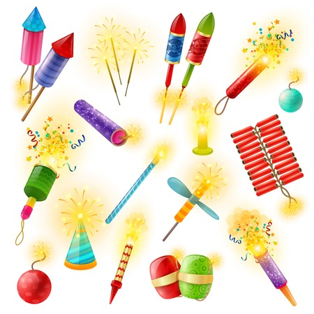 bengal fire: Pyrotechnics commercial firework crackers firecrackers indian bengal lights and sparklers for special events colorful collection vector illustration