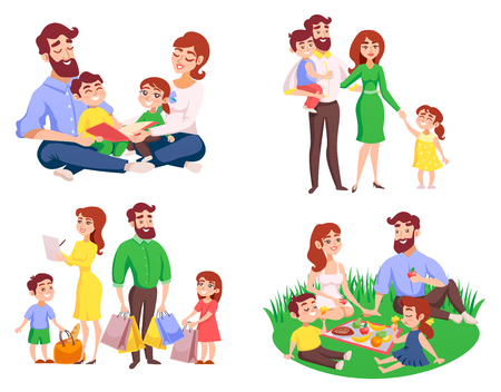Set of family during walk, picnic in meadow, reading, after shopping retro cartoon style isolated vector illustration