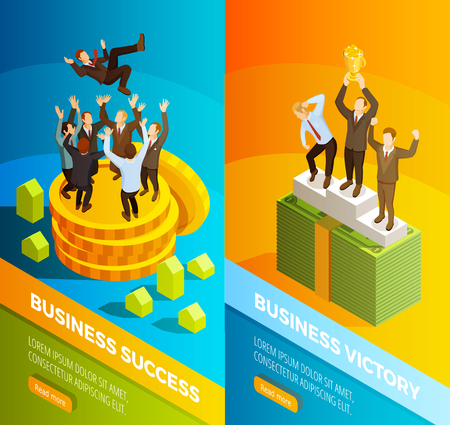 Successful winning business leaders victory celebration on podium 2 vertical isometric banners set isolated vector illustration