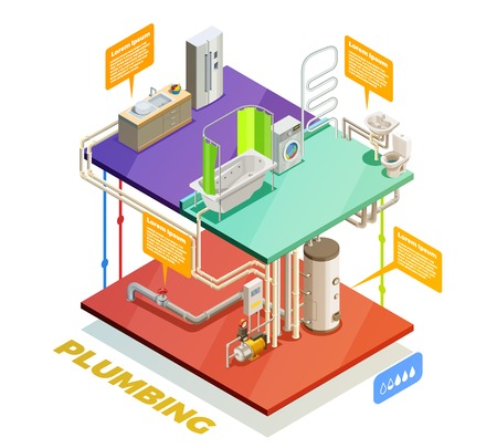 Plumbing two story house water heating system isometric set of boiling room bathroom and kitchen vector illustration Stok Fotoğraf