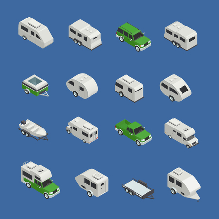 camper: Recreational vehicles isometric icons set on blue background isolated vector illustration Stock Photo