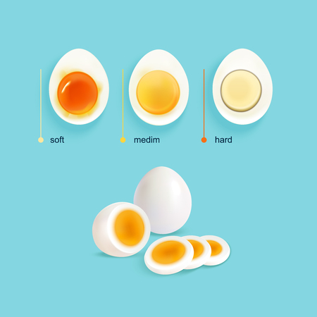 raw egg: Boiled eggs infographical concept with three illustrated stages of egg boiling with slices and text captions vector illustration