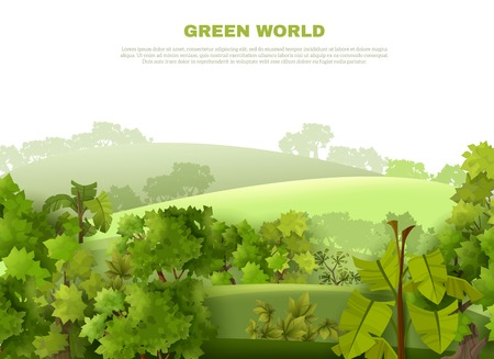 tropical garden: Green world ecological organisation poster with undulating landscape tropical garden style with misty background abstract vector illustration