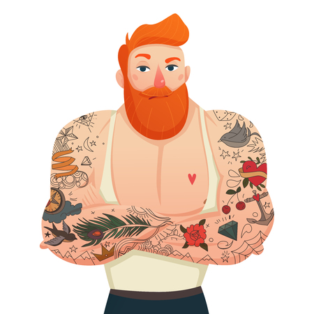 single man: Single flat figurine of muscular tattooed man with red hair and beard isolated cartoon vector illustration