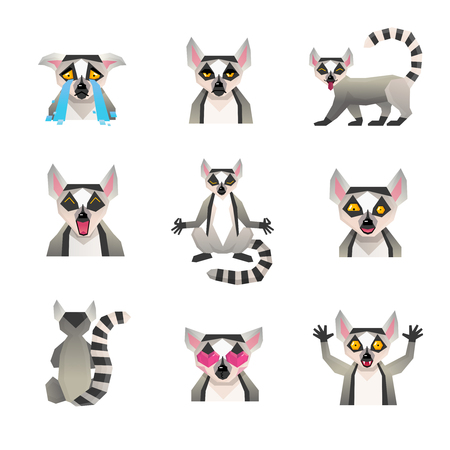 Lemur polygonal set of isolated big cartoon style icons with macaco character images representing various emotions vector illustration