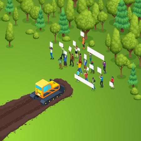 Verde activista protección de los bosques composición isométrica con el grupo de personas que sostienen pancartas en frente de oruga tractor ilustración vectorial Ilustración de vector
