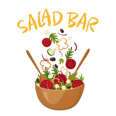 De samenstelling van de saladebar met houten pot van Griekse salade voor vegetarisch menu en gezondheidsvoedsel die vlakke vectorillustratie adverteren