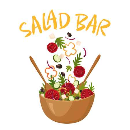 Salad bar composition with wood pot of greek salad for vegetarian menu and health food advertising flat vector illustration Banco de Imagens - 75611466