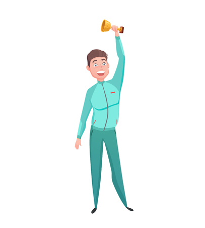 character abstract: Young sportsman gold cup winner great triumph celebration emotional moment with prize cartoon character abstract vector illustration
