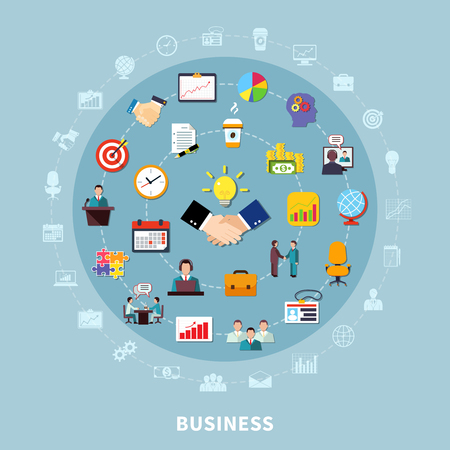 Business composition of isolated financial planning icons and office organizer pictogram silhouettes inscribed in circle shape vector illustration