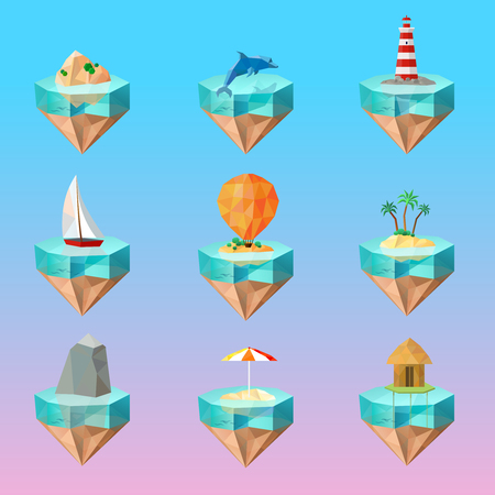 Tropical island symbols polygonal icons set on beautiful color gradient background with palm sailboat lighthouse dolphin vector illustration