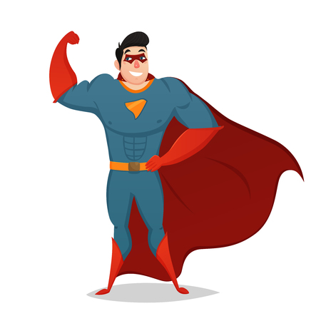 Cartoon figurine of muscular man dressed in superhero costume with red cape isolated vector illustration Illustration