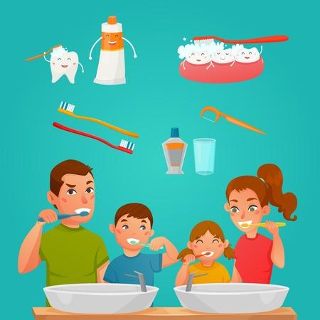 Jonge familie tandenpoetsen samen en tandverzorging producten en hulpmiddelen cartoon samenstelling platte vectorillustratie