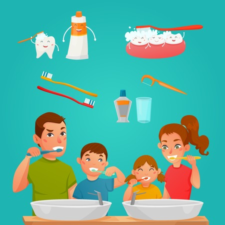 Young family brushing teeth together and tooth care products and tools cartoon composition flat vector illustration