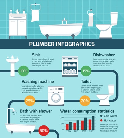 paragraphs: Plumber infographics with realistic sanitary fixtures flat images flowchart with circle percentage diagrams and text paragraphs vector illustration Illustration
