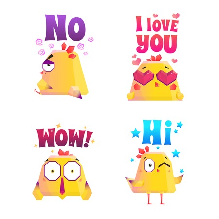 Chicken compositions set of isolated doodle characters representing different emotions with appropriate artwork and text captions vector illustration