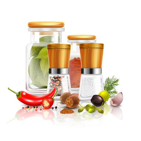 nutmeg: Spices 3d composition with bay leaves in glass jar pepper mill nutmeg on white background vector illustration