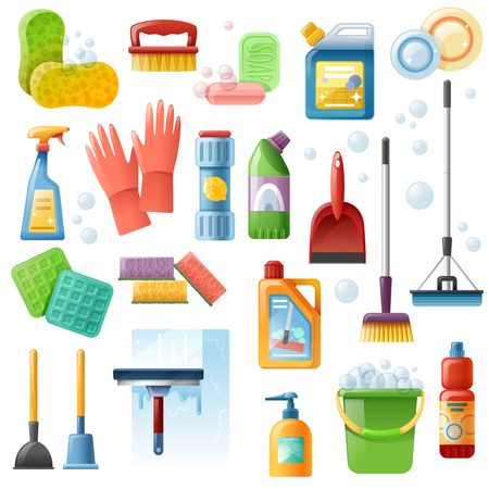 Cleaning products supply flat icons collection with bucket plunger window squeegee and floor mop  isolated vector illustration