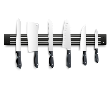 Variety of kitchen knives with black handle on magnetic strip on white background 3d vector illustration Illustration