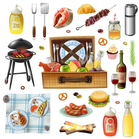 Family picnic barbecue grill food drinks rug and accessories realistic icons set with sausages and salmon vector illustration