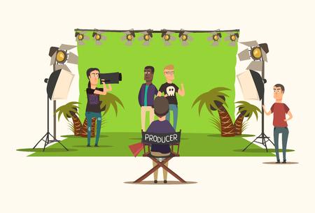 Filme fazendo composição plana com cineasta assistente de produtor e atores na ilustração vetorial de fundo branco