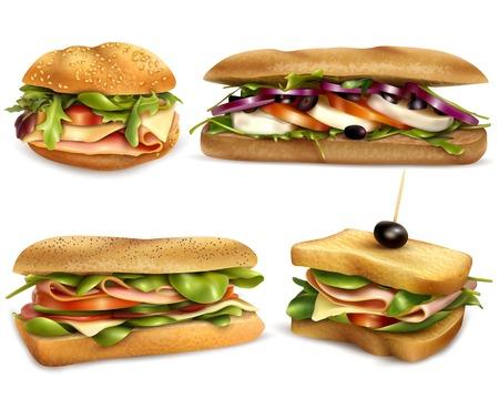 Świeże, zdrowe kanapki pełnoziarniste z serem, szynką, mozzarellą, pomidorami, cebulą i oliwkami realistyczne ilustracji wektorowych