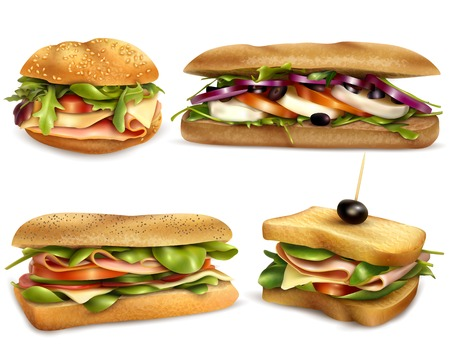 Fresh healthy whole grain sandwiches set with cheese ham mozzarella tomatoes onion and olives realistic vector illustration Ilustração