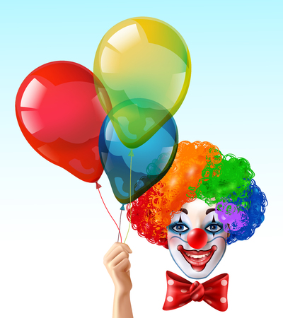 Circus clown smiling face with bright three color wig and hand holding balloons realistic funny vector illustration Illustration