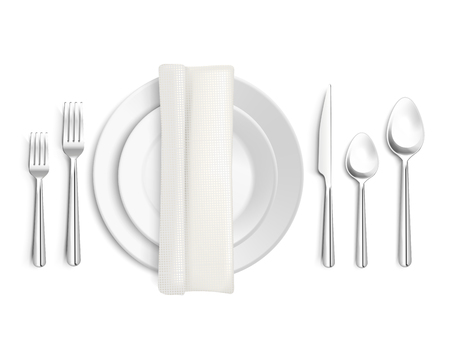 Table appointments top view 3d design with cutlery napkin and plates on white background isolated vector illustration Illustration