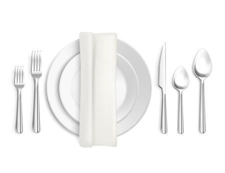 Tafel afspraken bovenaanzicht 3d ontwerp met bestek servet en borden op witte achtergrond geïsoleerde vector illustratie