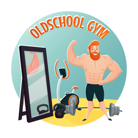 brutal: Gym school design concept with brutal red bearded guy demonstrating large biceps flat cartoon vector illustration