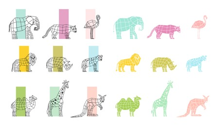 Southern wild animals polygonal linear computer graphic image color choosing process flat icons set vector illustration