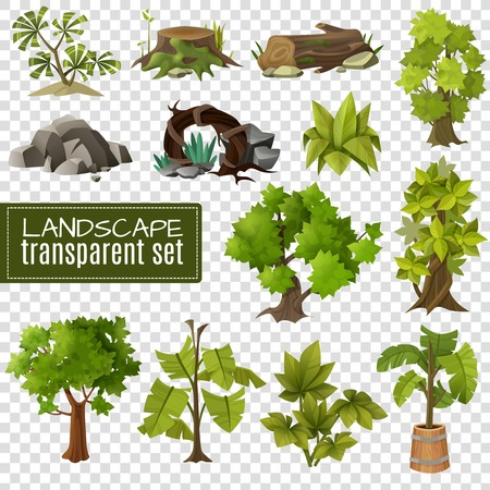 Modern gardening landscape natural elements collection with stones wood and tropical plants on transparent background vector illustration