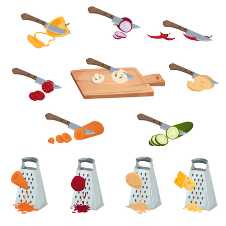 Vegetables preparing set of tools for chopping cutting by knife and grater isolated vector illustration Çizim