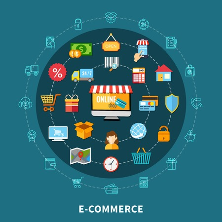 Colored e commerce flat composition with isolated icon set combined in big circle vector illustration Illustration