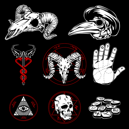 palmistry: Hand drawn esoteric emblems and occult attributes with pyramid wings all seeing eye  and human palm on black background flat vector illustration Illustration