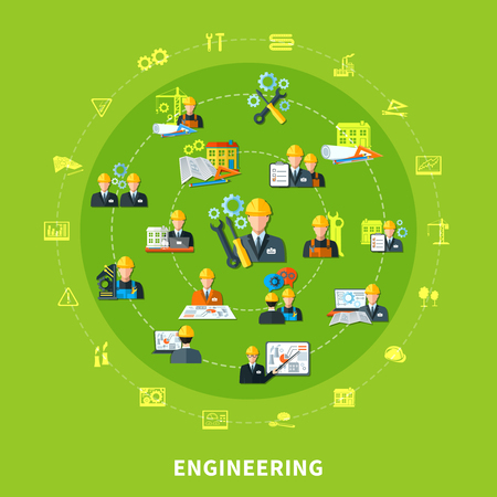 engineering tool: Engineering composition with isolated emoji style project development icons and tool silhouettes placed on concentric circles vector illustration