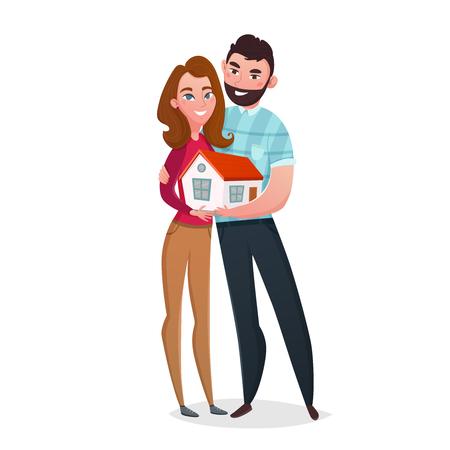 Composición de pareja de calentamiento de casa con dos personajes de dibujos animados de estilo humano de esposa y esposo sosteniendo ilustración de vector de casa pequeña