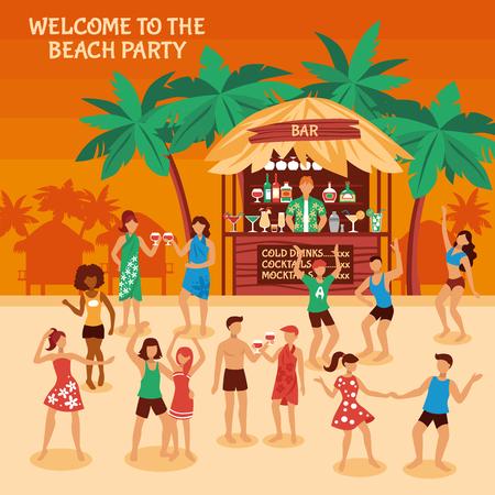Strandparty bei Sonnenuntergang mit den netten Leuten der Bar und der Getränke, die auf Artart-Vektorillustration des Sandes flach tanzen