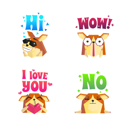lap dog: Set of four isolated corgi compositions of lap dog images with hearts stars and text decorations vector illustration Illustration